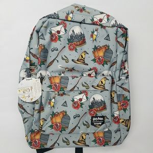 Loungefly Harry Potter Relic Tattoo print backpack